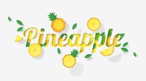 Das Wortananasdesign, das mit Ananas verziert wird, trägt Früchte und verlässt in der Papierkunstart Lizenzfreie Stockbilder