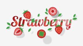 Das Worterdbeerdesign, das mit Erdbeere verziert wird, trägt Früchte und verlässt in der Papierkunstart Stockfotografie