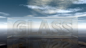 Das Wortglas im Glas unter bewölktem Himmel vektor abbildung