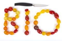 Das Wortorganische dargelegt mit Tomaten Stockfotos