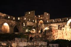 Das Yard von Jerusalem nachts stockbild
