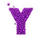 Das Ypsilon, das von den Plastikperlen, die purpurroten Blasen, lokalisiert auf Weiß gemacht wird, 3d übertragen Stockbild