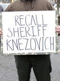 Das Zeichen des protestors Stockfoto