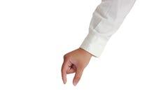 Das Zeichen-Handzeichen aufheben lokalisiert auf Weiß Lizenzfreies Stockbild