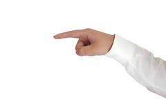 Das Zeichen-Handzeichen zeigen lokalisiert auf Weiß Lizenzfreie Stockfotos