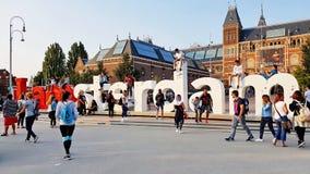 Das Zeichen i Amsterdam lizenzfreie stockbilder
