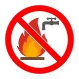 Das Zeichen ist, das Feuer mit Wasser in einem roten gekreuzten Herauskreis auszulöschen verboten stock abbildung
