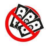 Das Zeichen wird verboten Bargeld mit M?nzenlinie Ikone BankwesenW?hrungszeichen Dollar oder USD-Symbol lizenzfreie abbildung