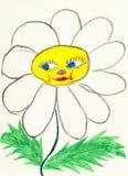 Das Zeichnen auf Papier bildete das Kind - Kamillenblume Stockfoto