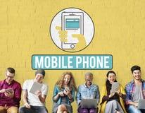 Das zelluläre Handy-Mobiltelefon teilen Konzept mit stockfotografie