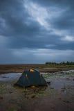 Das Zelt nach dem Sturm Stockfotografie