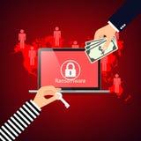 Das Zerhacken von E-Mailadresses programmiert ransomware, roten Hintergrund stock abbildung