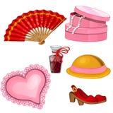 Das Zubehör der Frauen - Fan, Schuhe, Parfüm, Hut, Schmuckkästchen, Kissen Stockbild