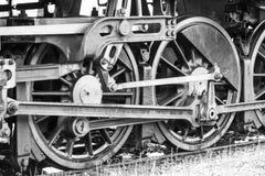 Das Zugrad von der Dampflokomotive Stockfoto