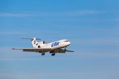 A321, das zur Rollbahn landet Lizenzfreie Stockfotografie