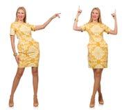 Das zusammengesetzte Foto der Frau in den verschiedenen Haltungen Stockbild