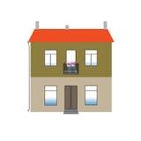 Das zwei-storeyed Haus mit einem orange Dach Lizenzfreies Stockfoto
