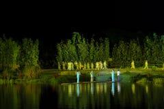 Das zweite Kapitel ` Lampe ` - das umfangreiche Flussufershow ` Jinggangshan-` Stockfoto