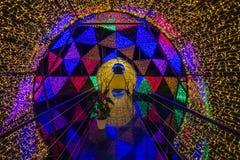 Dasada die Bloesemfestival geven bij dasadagalerij, Prachinburi, Thailand van Dec2,2017 tot Feb28,2018: Aantrekkelijk licht koepe Stock Foto's