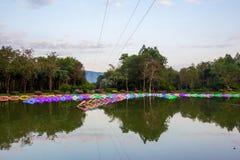 Dasada die Bloesemfestival geven bij dasadagalerij, Prachinburi, Thailand van Dec2,2017 tot Feb28,2018: LEIDEN Licht omhoog in de Stock Afbeelding