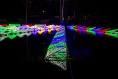 Dasada die Bloesemfestival geven bij dasadagalerij, Prachinburi, Thailand van Dec2,2017 tot Feb28,2018: LEIDEN Licht omhoog in de Stock Fotografie