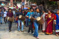 Parade of group of Musician Dasain Festival , Kathmandu , Nepal. Dasain or Dashain is a 10 days festival in Nepal , and also is the biggest festival . For honor royalty free stock photography