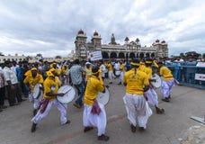 Dasara festival på den Mysore slotten arkivbild