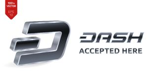 Dash accepted sign emblem. Crypto currency. 3D isometric silver Dash sign with text Accepted Here. Block chain. Stock vector illus. Tration Royalty Free Stock Photos