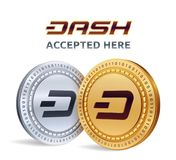 Dash. Accepted sign emblem. Crypto currency. Golden and silver coins with Dash symbol  on white background. 3D isometric P. Hysical coins with text Accepted Here Stock Images
