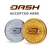 Dash. Accepted sign emblem. Crypto currency. Golden and silver coins with Dash symbol isolated on white background. 3D isometric P. Hysical coins with text Royalty Free Stock Images