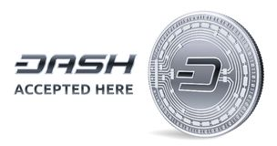 Dash. Accepted sign emblem. Crypto currency. Silver coin with Dash symbol isolated on white background. 3D isometric Physical coin. With text Accepted Here Stock Photo