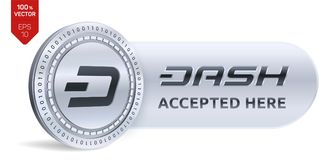 Dash accepted sign emblem. 3D isometric Physical coin with frame and text Accepted Here. Cryptocurrency. Silver coin with Dash symbol  on white background Stock Photos
