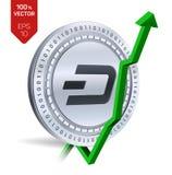 dash Accroissement Flèche verte vers le haut L'estimation d'index de tiret vont sur le marché des changes Crypto devise isola phy Images stock