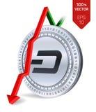 dash Automne de flèche rouge vers le bas L'estimation d'index de tiret vont vers le bas sur le marché des changes Crypto devise a Photos stock
