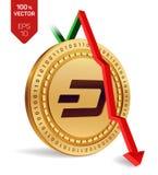 dash Automne de flèche rouge vers le bas L'estimation d'index de tiret vont vers le bas sur le marché des changes Crypto devise i Images libres de droits