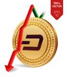 dash Automne de flèche rouge vers le bas L'estimation d'index de tiret vont vers le bas sur le marché des changes Crypto devise i Image libre de droits