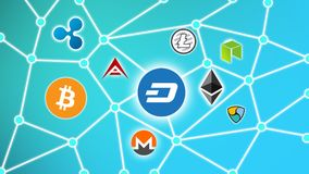 DASH Blue Background, Cryptocurrency Blockchain Network. Cryptocurrency concept background show network of coins, various connectings through blockchain networks Royalty Free Stock Image