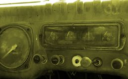 Dash board. In an old car Stock Photos