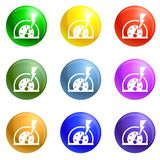 Dash board energy icons set vector stock illustration