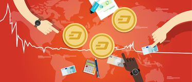 Dash coin decrease exchange value digital virtual price down chart red Stock Images