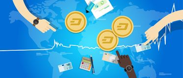 Dash coin increase exchange value digital virtual price up chart blue. Vector Stock Image