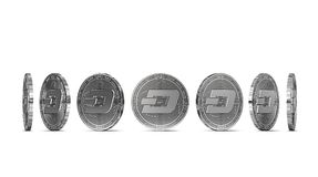 Dash coin shown from seven angles isolated on white background. Easy to cut out and use particular coin angle. 3D rendering royalty free illustration