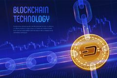 Dash. Crypto currency. Block chain. 3D isometric Physical golden Dash coin with wireframe chain on blue financial background. Bloc. Kchain concept. Editable stock photo