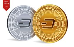 Dash. Crypto currency. 3D isometric Physical coins. Digital currency. Golden and silver coins with Dash symbol isolated on white b. Ackground. Block chain Royalty Free Stock Photo