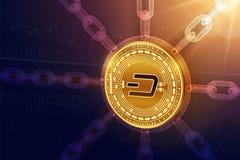 dash Crypto devise Chaîne de bloc pièce de monnaie physique isométrique du tiret 3D avec la chaîne de wireframe Concept de Blockc Photos libres de droits