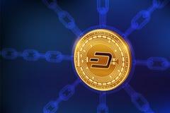 dash Crypto devise Chaîne de bloc pièce de monnaie physique isométrique du tiret 3D avec la chaîne de wireframe Concept de Blockc Image stock