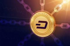 dash Crypto devise Chaîne de bloc pièce de monnaie physique isométrique du tiret 3D avec la chaîne de wireframe Concept de Blockc Photographie stock