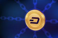 dash Crypto devise Chaîne de bloc pièce de monnaie physique isométrique du tiret 3D avec la chaîne de wireframe Concept de Blockc Photo libre de droits