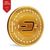 dash Crypto devise pièce de monnaie 3D physique isométrique Devise de Digital Pièce de monnaie d'or avec le symbole de tiret d'is Photographie stock