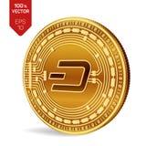 dash Crypto devise pièce de monnaie 3D physique isométrique Devise de Digital Pièce de monnaie d'or avec le symbole de tiret d'is Image libre de droits